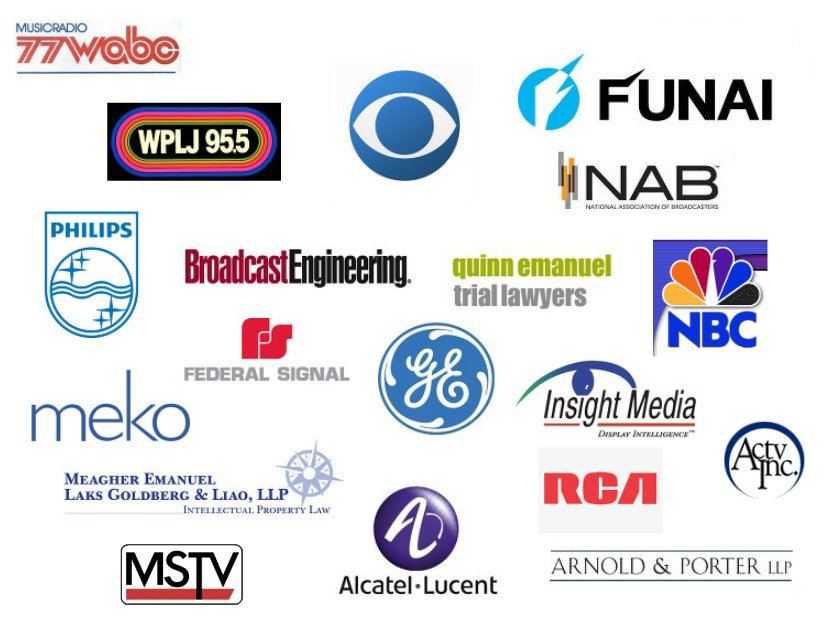 WABC, WPLJ, CBS, NAB, FUNAI, PHILIPS, BROADCAST ENGINEERING, QUINN EMANUEL, NBC, FEDERAL SIGNAL, GE, INSIGHT MEDIA, MEKO, MEAGHER EMANUEL, RCA, ACTV, MSTV, ALCATEL-LUCENT, ARNOLD & PORTER