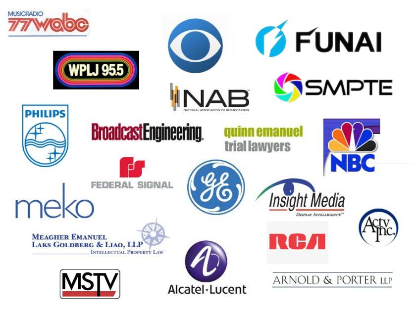 WABC, WPLJ, CBS, NAB, FUNAI, PHILIPS, BROADCAST ENGINEERING, QUINN EMANUEL, NBC, FEDERAL SIGNAL, GE, INSIGHT MEDIA, MEKO, MEAGHER EMANUEL, RCA, ACTV, MSTV, ALCATEL-LUCENT, ARNOLD & PORTER, SMPTE